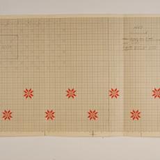 Patroontekening voor altaarkleed, kelkdoekje of servet 'Lam Gods' (dessinnr. 1665) - W.J. van Hoogerwou & Zn. (Boxtel), G.H. Slot, Textielmuseum (registratiefoto)
