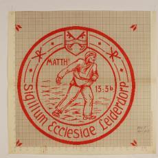 Patroontekening voor kerktextiel 'Sigillum ecclesiae Leiderdorp' - W.J. van Hoogerwou & Zn. (Boxtel), Textielmuseum (registratiefoto)