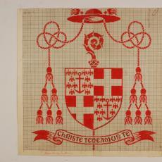 Patroontekening voor servet met het wapen van de bisschop van Haarlem (dessinnr. 896) - W.J. van Hoogerwou & Zn. (Boxtel), Textielmuseum (registratiefoto)