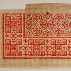 Patroontekening voor altaarkleed (dessinnr. 1663) - W.J. van Hoogerwou & Zn. (Boxtel), G.H. Slot, Textielmuseum (registratiefoto)