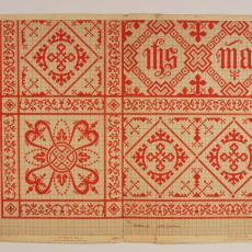 Patroontekening van kelkdoekje 'Gothisch patroon' (dessinnr. 1664) - Textielmuseum (registratiefoto), Textielmuseum (registratiefoto), G.H. Slot, W.J. van Hoogerwou & Zn. (Boxtel)