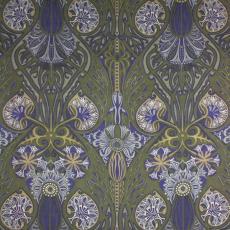 Staal gordijnstof (cretonne) met leliepatroon in art-nouveaustijl - Michel Duco Crop, P.F. van Vlissingen & Co. (Helmond)