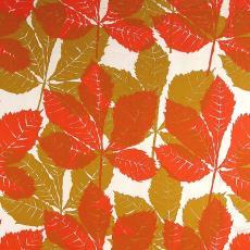 Gordijn met dessin van kastanjebladeren - International Kendix Textiles (Waalre), Textielmuseum (registratiefoto), Yvonne van Uden (toegeschreven)