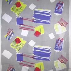 Grijze sprei met kleurige blokken en strepen - Piet van Leeuwen (toegeschreven), Het Paapje (Voorschoten)