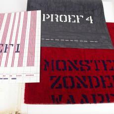 Presentatiemap met tapijtstaal en patroontekeningen - Textielmuseum, Textielmuseum (registratiefoto), Diek Zweegman, Premsela Vonk (Amsterdam), Storck van Besouw (Goirle), Textielmuseum