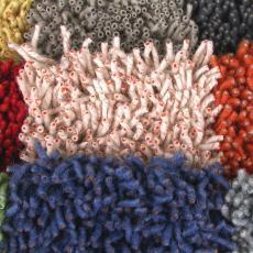 Eerste proefstalen tapijt 'Corale' - Textielmuseum (registratiefoto), Danskina, Liset van der Scheer, ASA (Winterswijk), Christiane Müller, Textielmuseum (registratiefoto)
