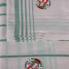 Tafellaken en vingerdoekjes 'Ruitdessin groen' (dessinnr. 750) in cellofaanzakjes - Textielmuseum (registratiefoto), Textielmuseum (registratiefoto), Kitty van der Mijll Dekker (Fischer-), Linnenfabrieken E.J.F. van Dissel & Zonen (Eindhoven)