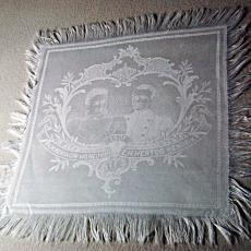 Vingerdoekje t.g.v. het huwelijk van koningin Wilhelmina en prins Hendrik in 1901 - Textielmuseum (registratiefoto), Koninklijke Weverij Van Dijk (Eindhoven)