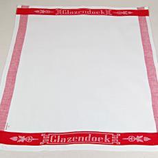 'Glazendoek' met ingeweven naam in rode rand - Textielmuseum (registratiefoto), Van Dijk-Manders (Waalre)