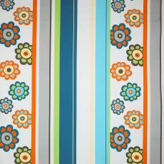 'Stripe flowers green' (91260B), uit de serie 'Flowers' - Maarten Vrolijk, Raffi & Co, Textielmuseum (registratiefoto)