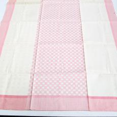 Ontbijtlaken met roze blokjes - Nico ter Kuile, Textielmuseum (registratiefoto)