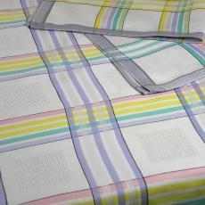 Tafelgoed met pastelkleurige strepen - Erica de Ruiter, Nico ter Kuile, Textielmuseum (registratiefoto)