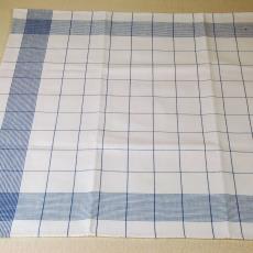 Witte droogdoek met blauw ruitmotief - Linnenfabrieken E.J.F. van Dissel & Zonen (Eindhoven), Textielmuseum (registratiefoto), Kitty van der Mijll Dekker (Fischer-)
