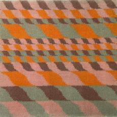 Staal met geometrische motieven in oranje, beige, roze en leverkleur - Storck van Besouw Interior (Goirle), Textielmuseum (registratiefoto), Lenie Hoos