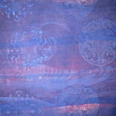 Gordijnstof met motief van cirkels - Textielmuseum (registratiefoto), Het Paapje (Voorschoten)