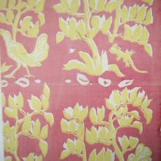 Gordijnstof met vogel, hagedis en takken - Trude Guermonprez-Jalowetz, Textielmuseum (registratiefoto), Het Paapje (Voorschoten)