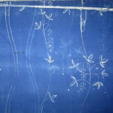 Gordijnstof met bloemklokjes en bladmotieven - Textielmuseum (registratiefoto), Het Paapje (Voorschoten), onbekend