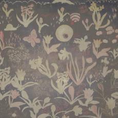Gordijnstof met bloemen, slak en vlinder - Textielmuseum (registratiefoto), Het Paapje (Voorschoten), C. Brouwers