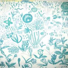 Gordijnstof met bloemen, slak en vlinder - Het Paapje (Voorschoten), C. Brouwers, Textielmuseum (registratiefoto)