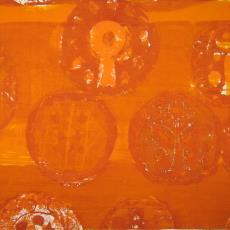 Gordijnstof met cirkelmotieven - Klaas van Biezen, Het Paapje (Voorschoten), Textielmuseum (registratiefoto)
