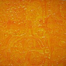 Oranjekleurige gordijnstof 'Eiland' - Textielmuseum (registratiefoto), Textielmuseum (registratiefoto), Lies van der Sluis, Het Paapje (Voorschoten)