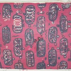 Wandbespanning met ellipsvormige motieven - Het Paapje (Voorschoten), Hans Polak, Textielmuseum (registratiefoto)
