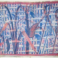 Wandbespanning met groot patroon van riet - onbekend, Het Paapje (Voorschoten), Textielmuseum (registratiefoto)