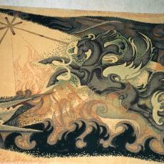 'Pegasus op weg naar de Olympus' - Adrianus van der Plas (Marie), Textielmuseum (registratiefoto), Koninklijke Vereenigde Tapijtfabrieken (Moordrecht/Deventer)