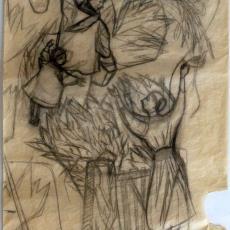 'Het vertrek', ontwerptekening - Textielmuseum (registratiefoto), Ernee van der Linden-'t Hooft