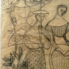 Ontwerptekening voor wandkleed van Gelder Papierfabriek (Renkum) - Textielmuseum (registratiefoto), Ernee van der Linden-'t Hooft, Textielmuseum (registratiefoto)