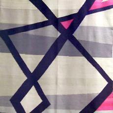 Beddensprei met patroon van horizontale en zigzagbanen - Ria van Oerle-van Gorp, Textielmuseum (registratiefoto), De Gouden Spin (Leiden)