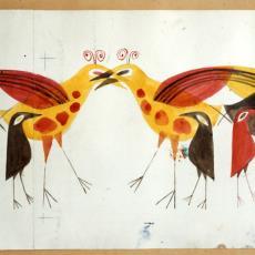 Ontwerptekeningen wandkleed met vogels (in 3 drukgangen) - Handweverij De Knipscheer (Laren), Cor van Mourik (toegeschreven), Textielmuseum (registratiefoto)