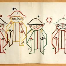 Ontwerptekening tapisserie met clownsfiguren - Cor van Mourik (toegeschreven), Textielmuseum (registratiefoto), Handweverij De Knipscheer (Laren)