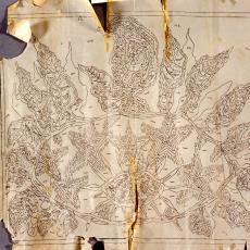 Ontwerptekening tapisserie met (zonne)bloem - Textielmuseum (registratiefoto), Handweverij De Knipscheer (Laren)