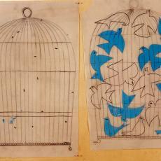 Ontwerptekeningen tapisserie met vogels in kooi - Handweverij De Knipscheer (Laren), Textielmuseum (registratiefoto)
