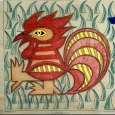 Ontwerptekeningen tapisserie 'Haantje' (Paradepas) - Handweverij De Knipscheer (Laren), Jaap Bouhuys, Textielmuseum (registratiefoto)