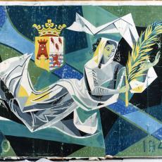 Ontwerptekeningen tapisserie met zwevende vrouw - Textielmuseum (registratiefoto), Handweverij De Knipscheer (Laren)
