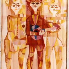 Ontwerptekening tapisserie met musicerende clownsfiguren - Textielmuseum (registratiefoto), Corstiaan de Vries, Textielmuseum (registratiefoto), Handweverij De Knipscheer (Laren)
