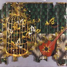 Ontwerptekeningen tapisserie met mandoline en vogelkooi - Textielmuseum (registratiefoto), Jean Picart le Doux, Textielmuseum (registratiefoto), Textielmuseum (registratiefoto), Handweverij De Knipscheer (Laren)