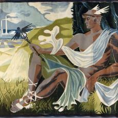 Ontwerptekeningen tapisserie met Griekse god Hermes - Textielmuseum (registratiefoto), Handweverij De Knipscheer (Laren)