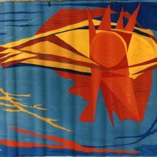 Ontwerptekeningen tapisserie 'Zonvis' - Wally Elenbaas (Valdemar Hansen), Textielmuseum (registratiefoto), Handweverij De Knipscheer (Laren)