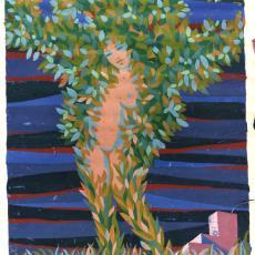 Ontwerptekening tapisserie met boom en naakte vrouw - Textielmuseum (registratiefoto), Handweverij De Knipscheer (Laren)