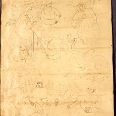 Ontwerptekening tapisserie met voorstellingen uit het boerenleven - Textielmuseum (registratiefoto), Handweverij De Knipscheer (Laren)