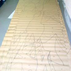 Ontwerptekening tapisserie met onregelmatige vlakken - Textielmuseum (registratiefoto), Handweverij De Knipscheer (Laren), Textielmuseum (registratiefoto), Textielmuseum (registratiefoto)