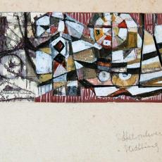 'Zonder titel', ontwerp wandkleed voor Prof. mr. W.P. Pompekliniek te Nijmegen (325x110 cm) - Ria van Oerle-van Gorp, De Gouden Spin (Leiden)