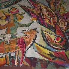 'De aarde geeft' / 'La terre donne' - Textielmuseum (registratiefoto), Gobelinweverij De Uil (Amsterdam), Textielmuseum (registratiefoto), Fa. Thomassen en Drijver Blikemballage, Gisèle van Waterschoot van der Gracht, Textielmuseum (Joep Vogels)