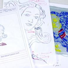 'Models Unknown' (uit serie: 'Sewbjective subjects'), map met ontwerp-, werktekeningen en proefstalen - Textielmuseum (registratiefoto), Textielmuseum (registratiefoto), Textielmuseum (registratiefoto), Textielmuseum (registratiefoto), Textielmuseum (registratiefoto), Li Koelan, Textielmuseum (registratiefoto), Textielmuseum (registratiefoto), Textielmuseum (registratiefoto)