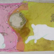 Applicatie, ontwerp voor installatie 'Rabbits first' - Nederlands Textielmuseum, Berend Strik