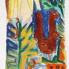 'Lusthof', schets wandtapijt (?) - Ria van Oerle-van Gorp, De Gouden Spin (Leiden)