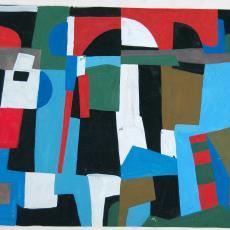 Ontwerp voor wandtapijt met abstract patroon - De Gouden Spin (Leiden), Ria van Oerle-van Gorp, Textielmuseum (registratiefoto)